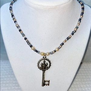 KEY to the CASTLE themed beaded NECKLACE